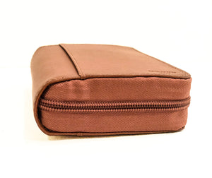 Diabetic leather supplies carrying case kit tan Zipper