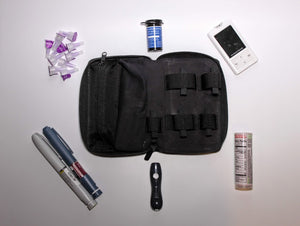Dropp Kitt diabetic leather supplies carrying case kit black storage