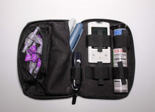 Diabetic leather supplies carrying case kit black pen glucometer