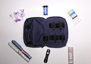 Diabetic supplies carrying case kit open storage