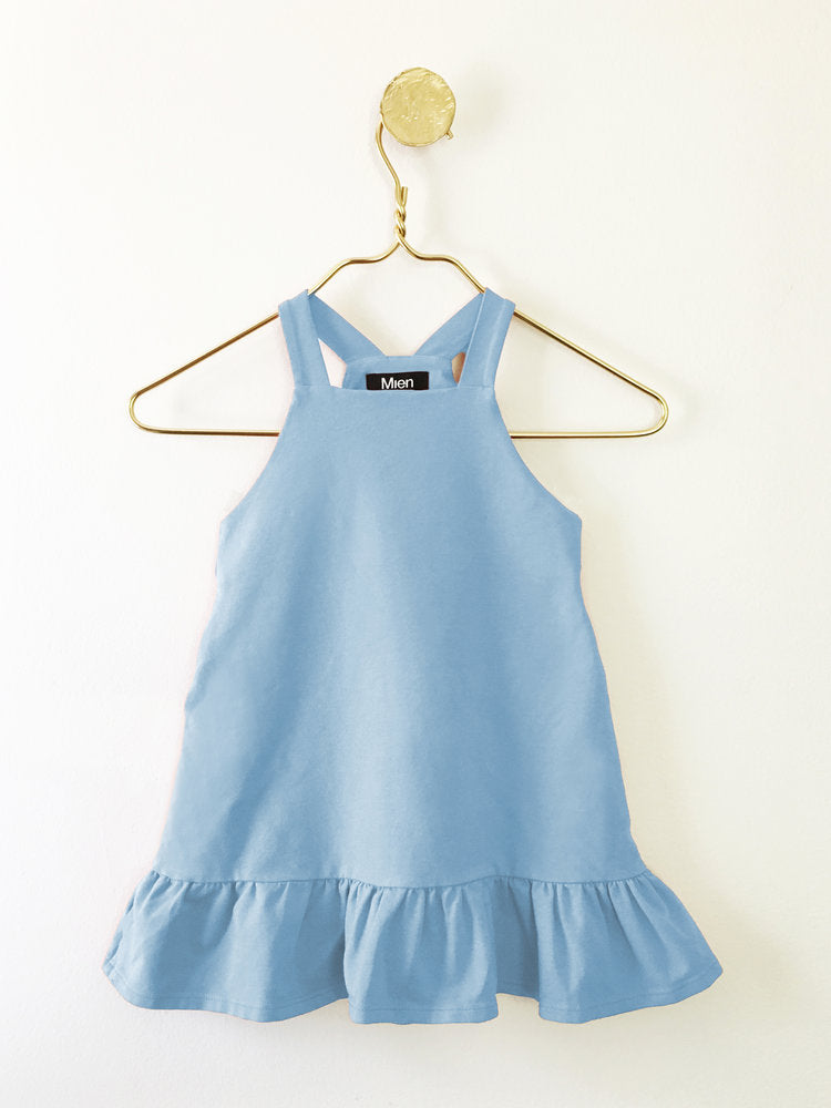 Girl's Mini FIne Day Pinafore Dress in Sky Blue