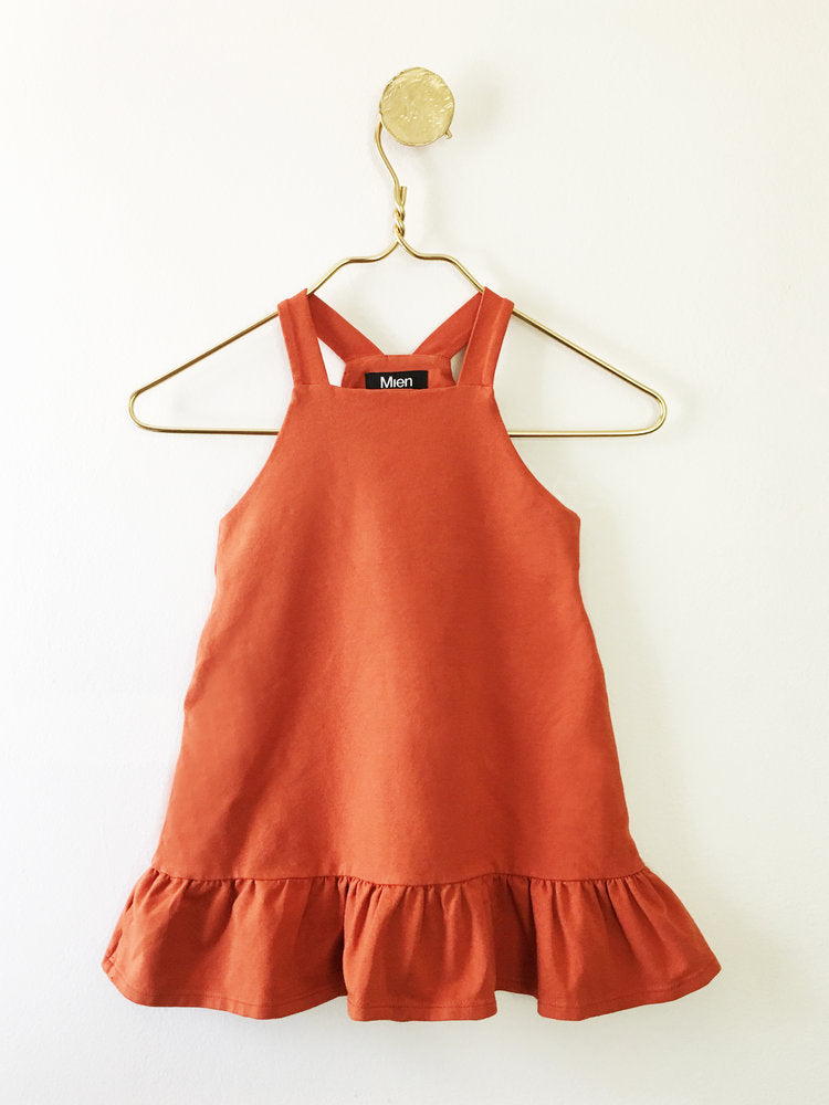 Girl's Mini FIne Day Pinafore Dress in Terracotta