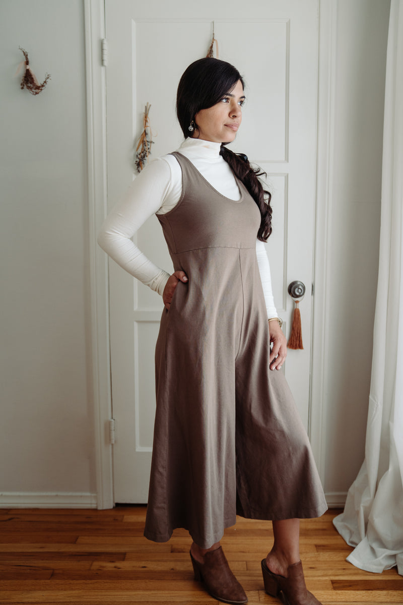 Lakeside Wide Leg Jumpsuit - Dark Umber