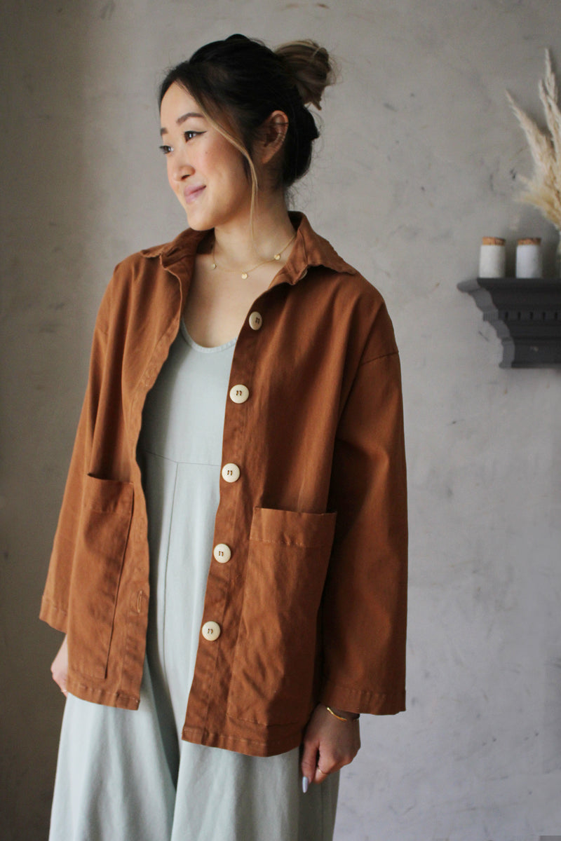 Painters Button Shirt Jacket - Saddle Brown