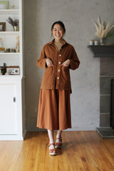 Painters Button Jacket - Saddle Brown