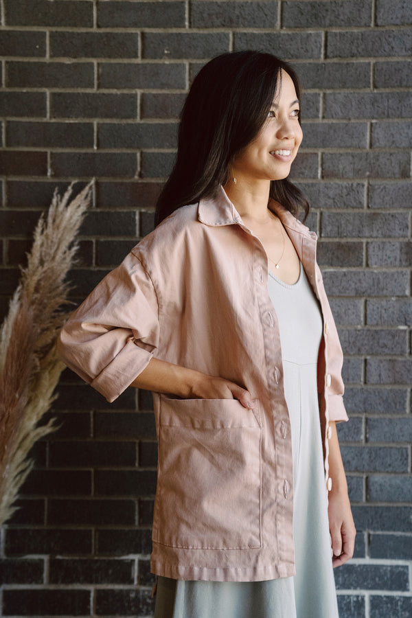Painters Button Shirt Jacket - Tea Rose