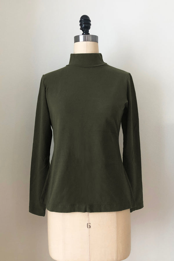 Sol Mock Neck Long Sleeve Top - Dark Moss