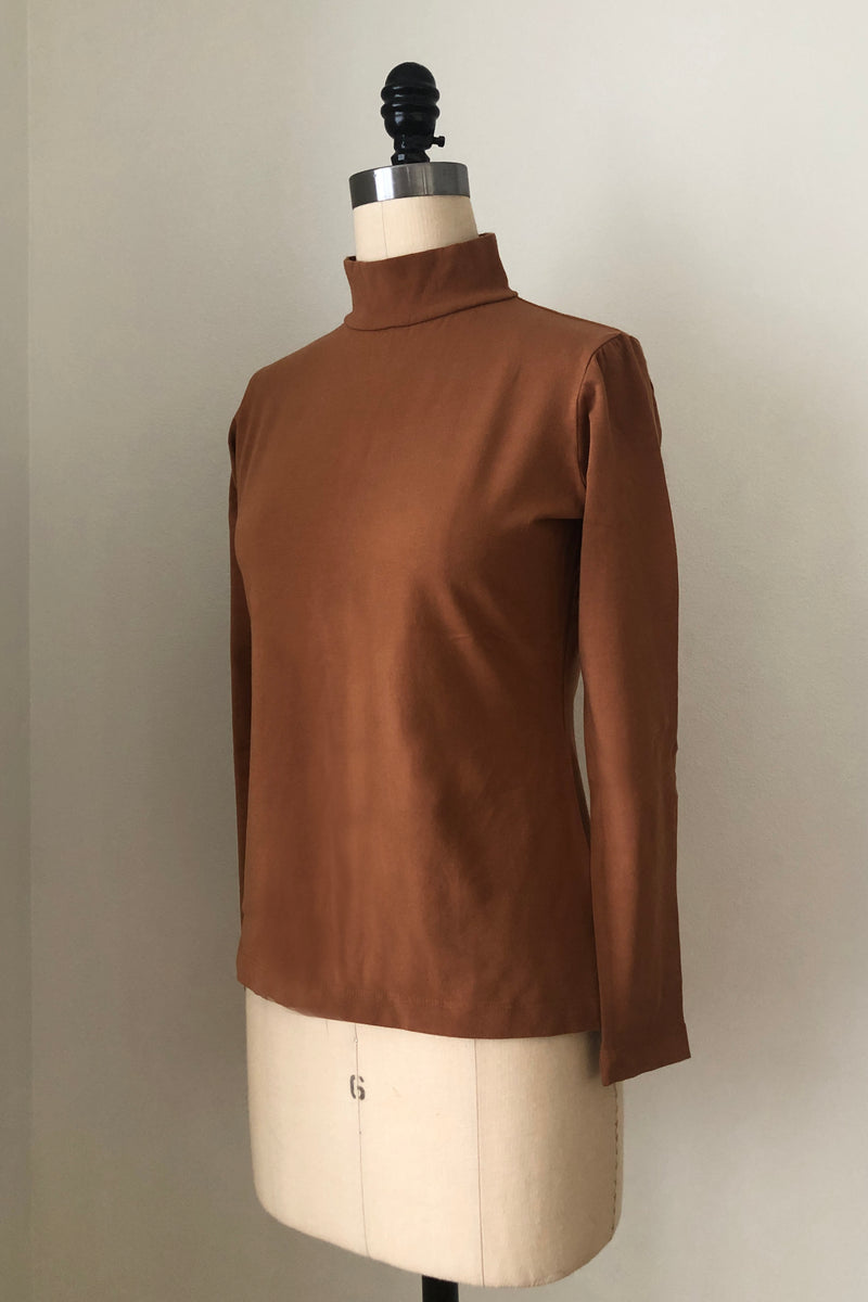 Sol Mock Neck Long Sleeve Top - Saddle Brown