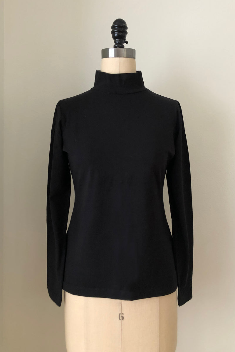 Sol Mock Neck Long Sleeve Top - True Black