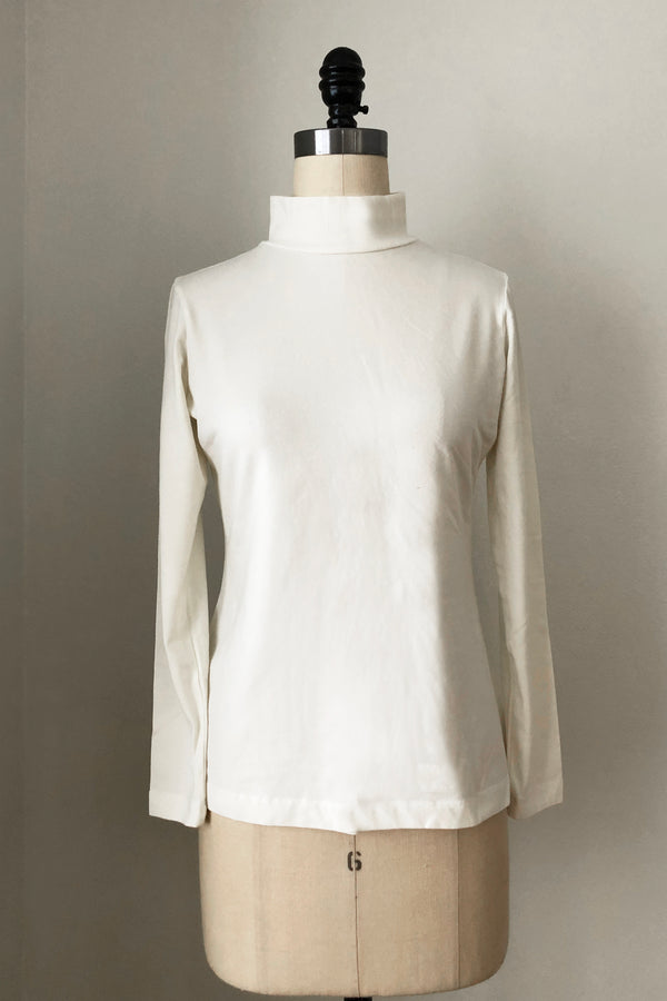 Sol Mock Neck Long Sleeve Top - Cream White