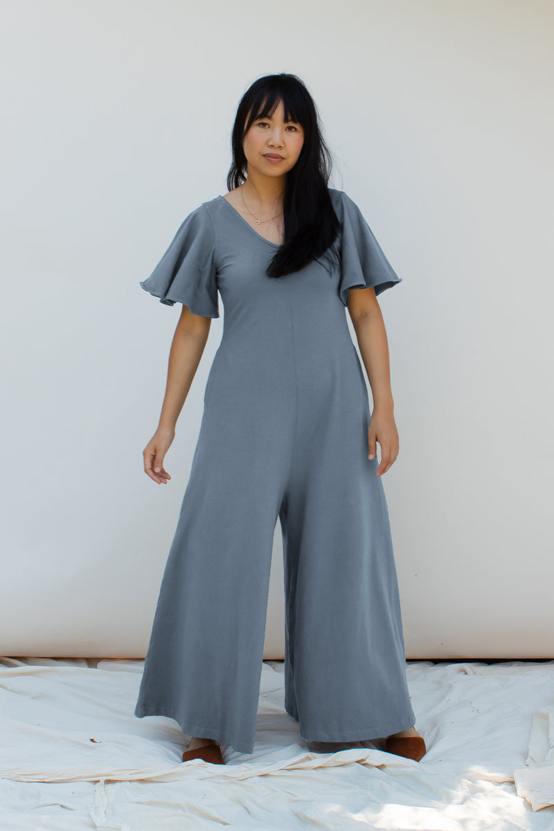 Villa Flutter Sleeve Jumpsuit - Dusty Blue