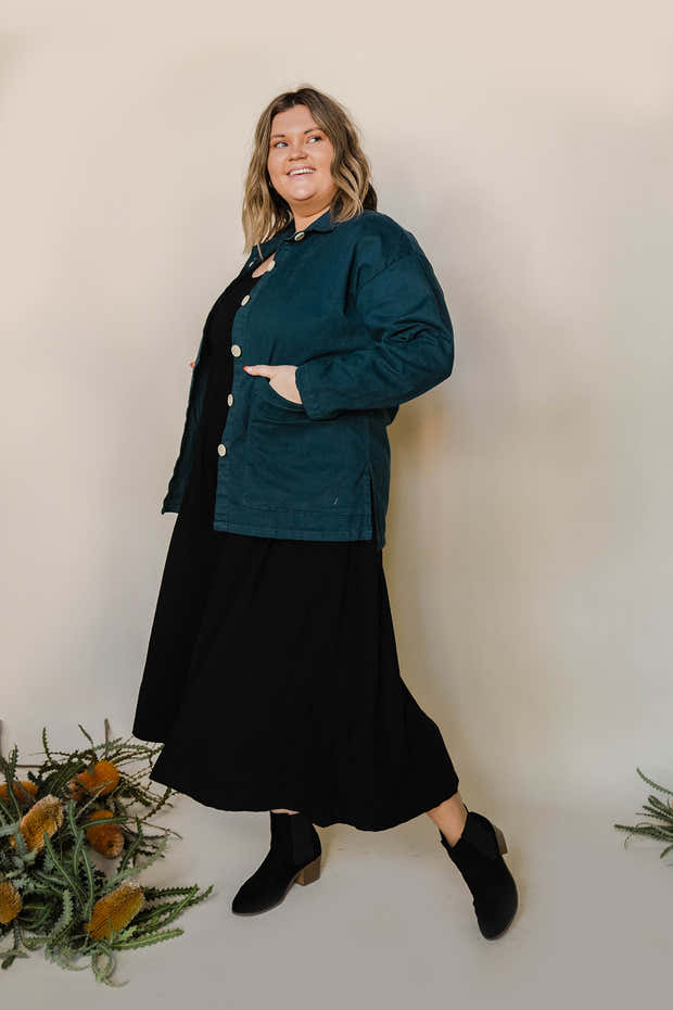 Painters Button Jacket - Rich Teal 1