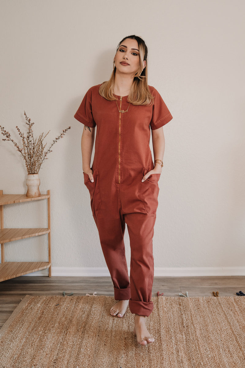 Together Zipper Jumpsuit - Red Clay