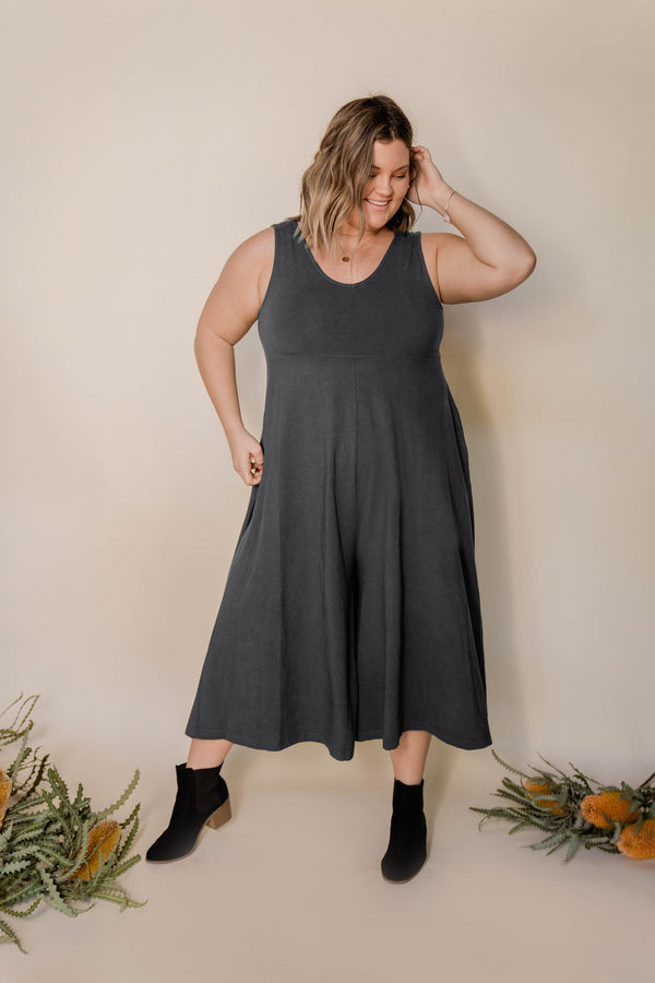 Lakeside Wide Leg Jumpsuit - Zinc Grey