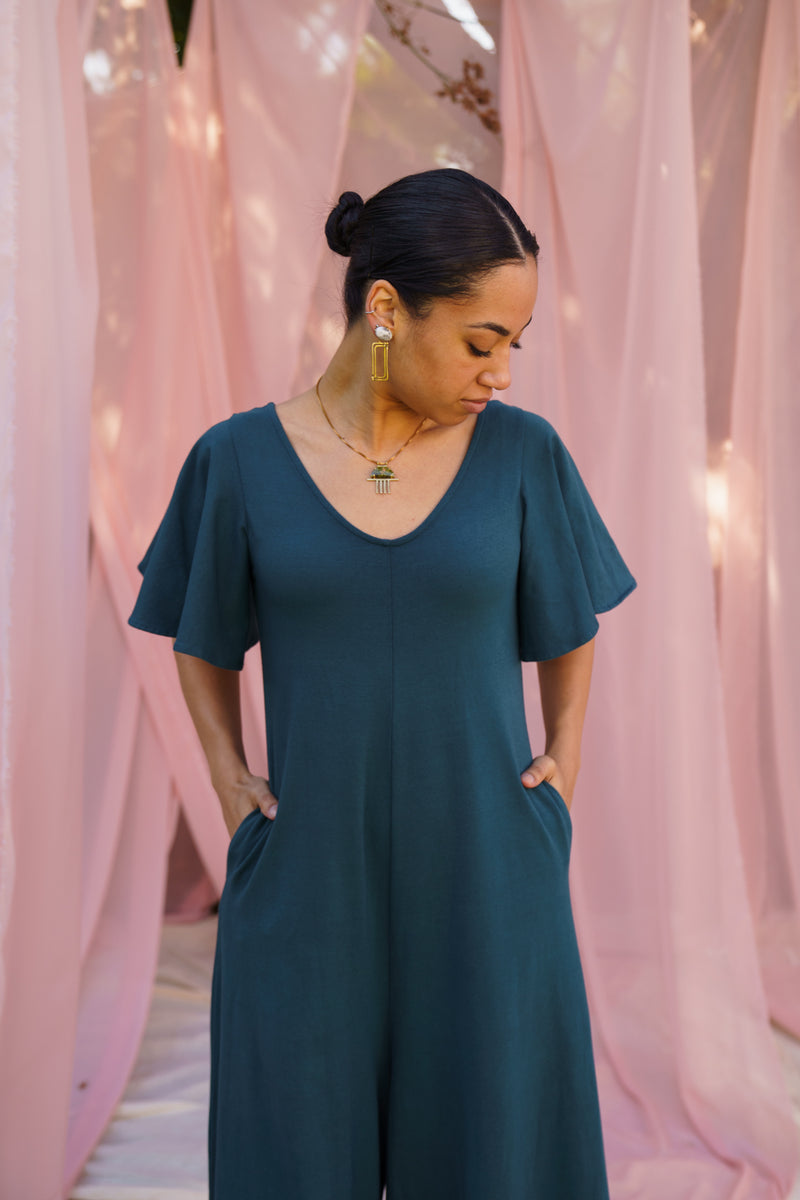 Villa Flutter Sleeve Jumpsuit - Rich Teal