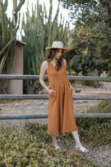 Lakeside Wide Leg Jumpsuit - Saddle Brown