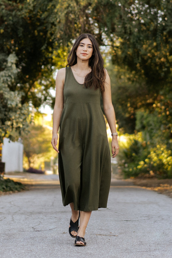 Lakeside Wide Leg Jumpsuit - Dark Moss