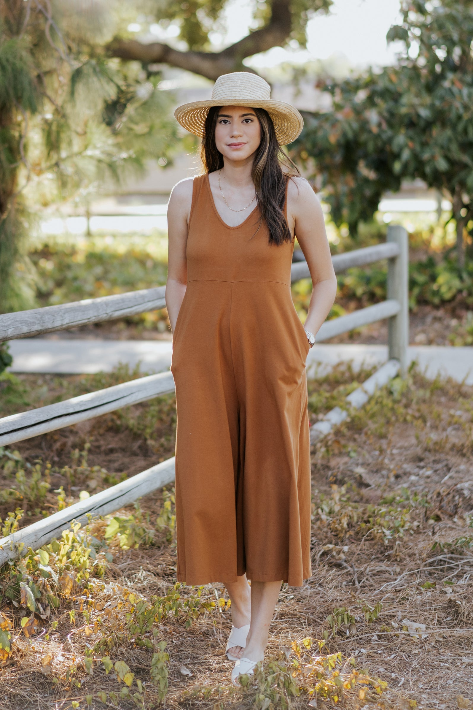 Lakeside Wide Leg Jumpsuit Saddle Brown Mien Studios