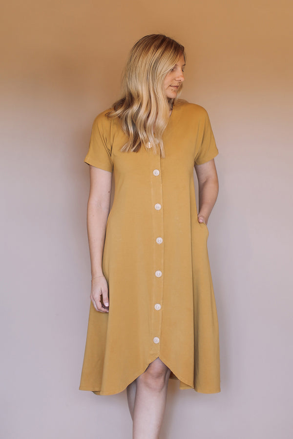 The Weekender Button Front Dress - Foxglove
