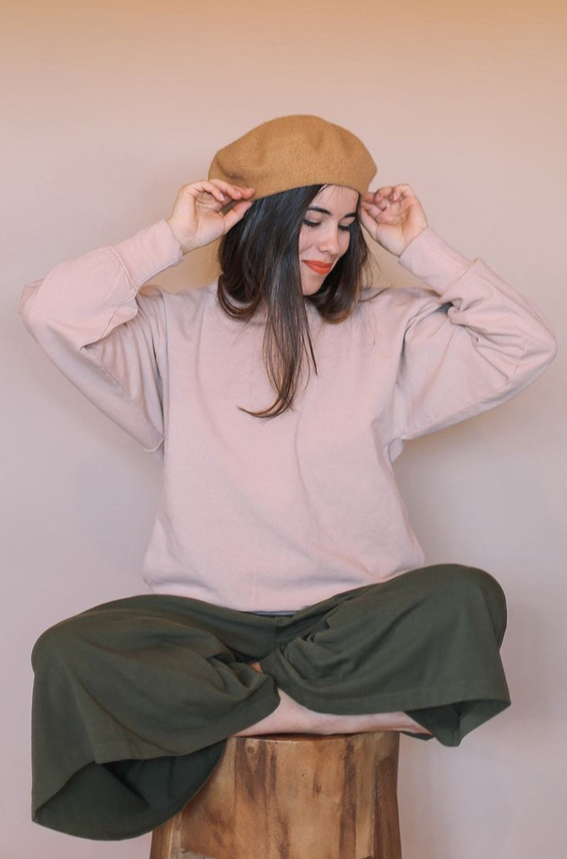Cozy Fleece Sweatshirt - Tea Rose