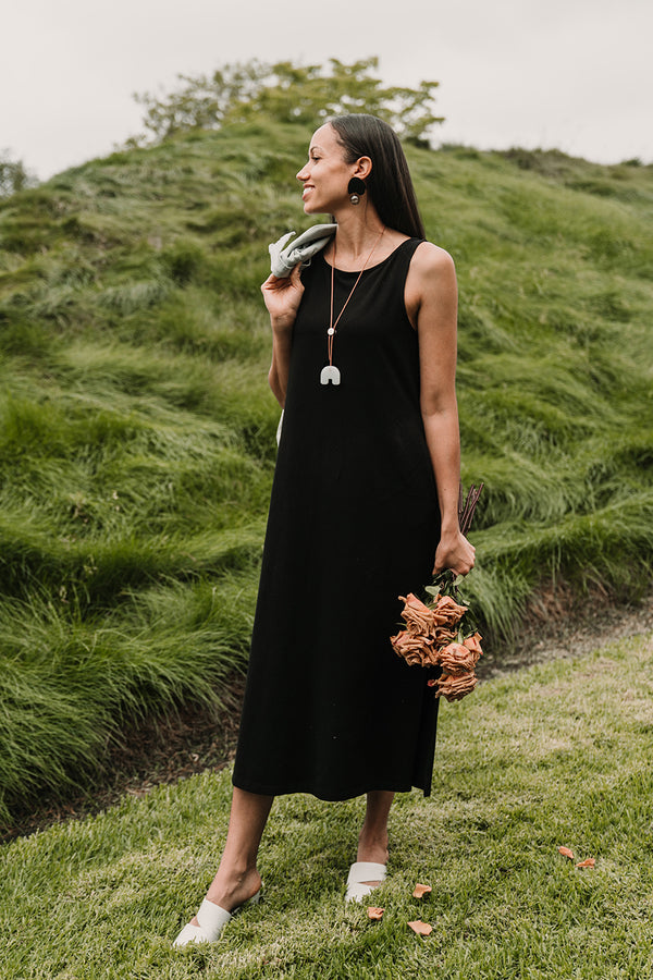 Fortuna Column Dress - True Black