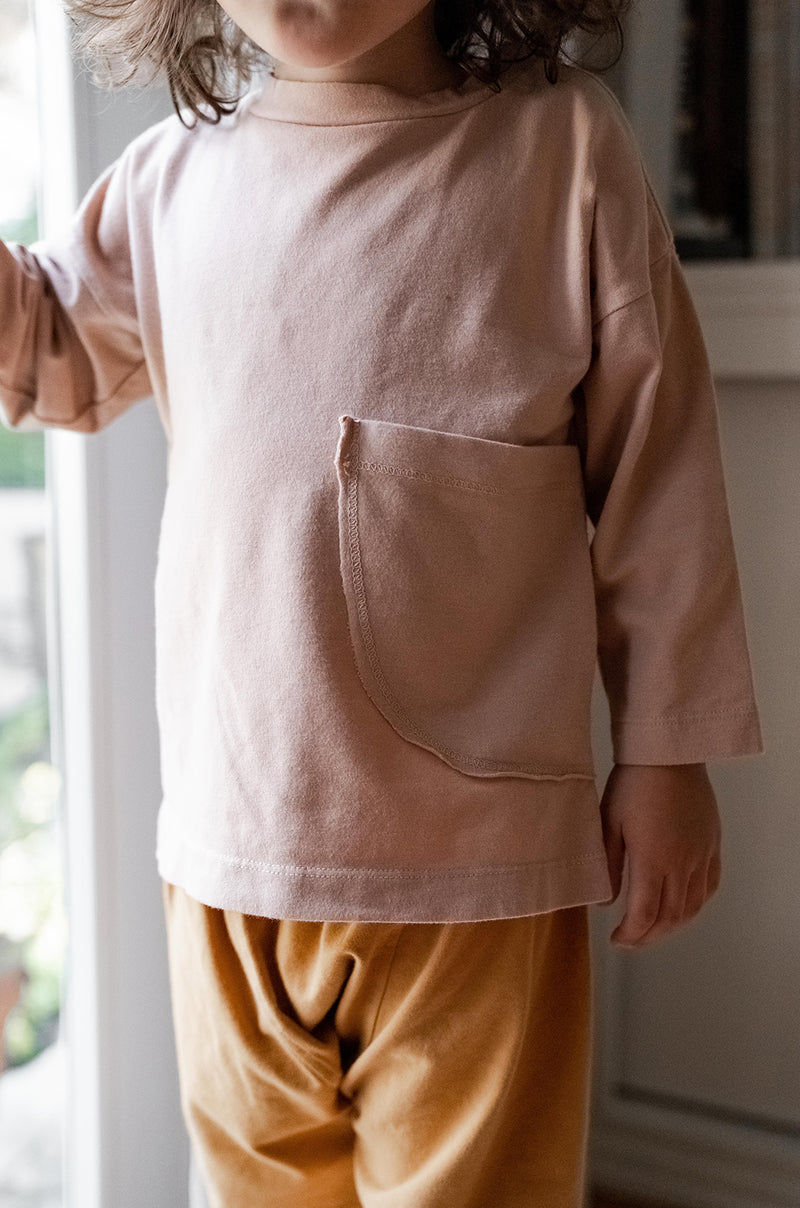 Sun Side Pocket Long Sleeve Tee - Tea Rose