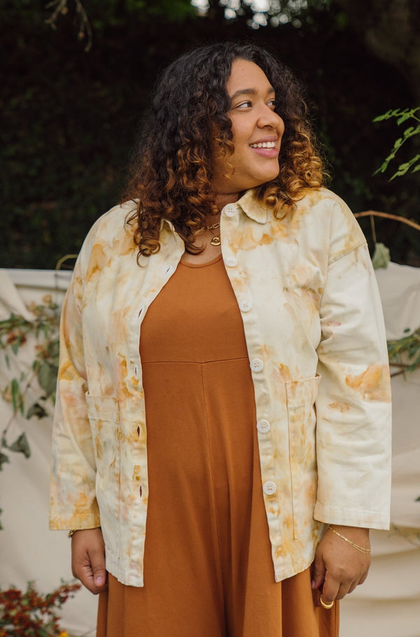 Mien x Milk Dyes | Painters Button Jacket - Hand Dye Champagne