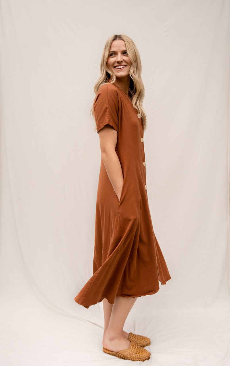 The Weekender Button Front Dress - Saddle Brown