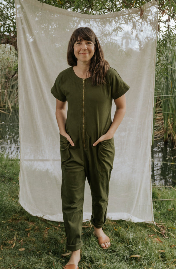 Together Zipper Jumpsuit - Dark Moss