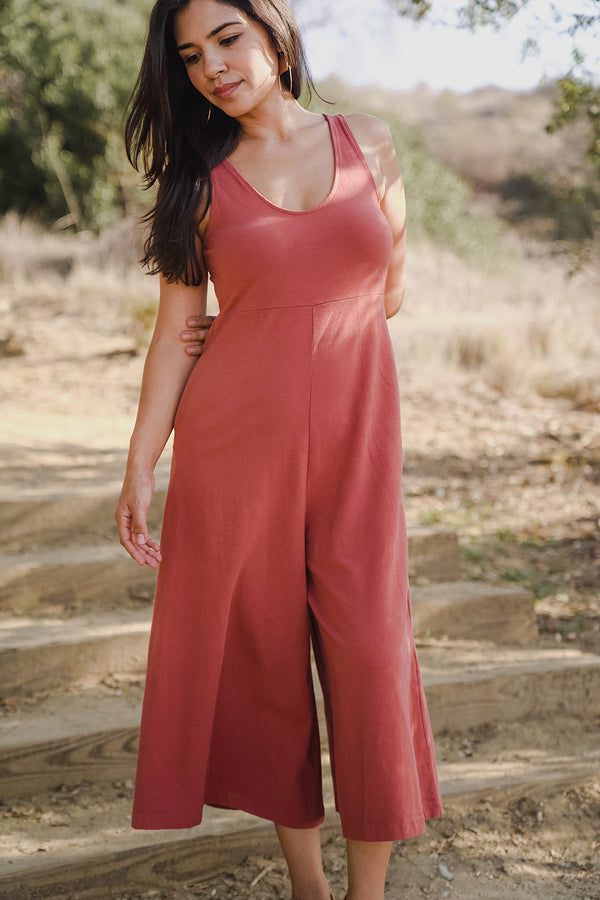 Lakeside Wide Leg Jumpsuit - Red Clay