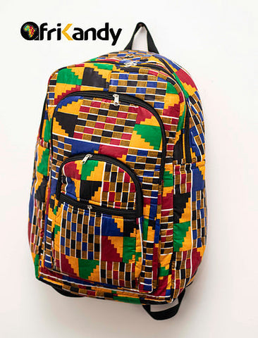 Large African Print Backpack