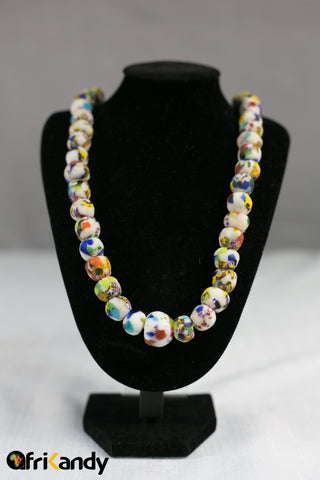 African glass bead necklace  and bracelet set - AfriKandy