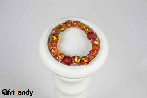 African recycled glass bead bracelet- Red and Yellow Multicoloured - AfriKandy