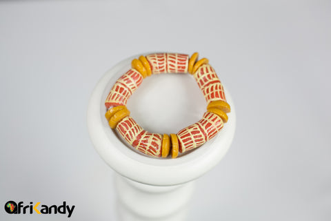 Hand Painted African recycled glass bead bracelet-red,white and yellow - AfriKandy