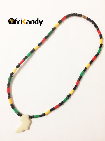 African map chain (white pendant) - AfriKandy