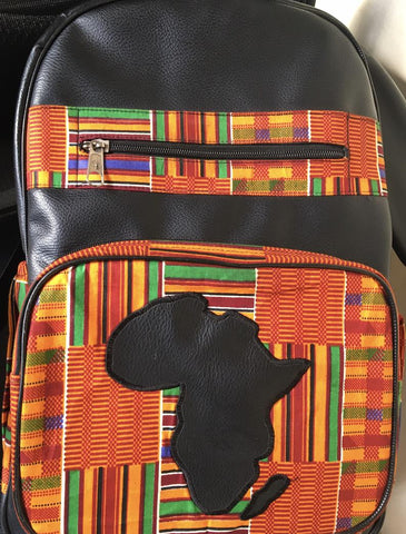 Large Leather & African Print Backpack