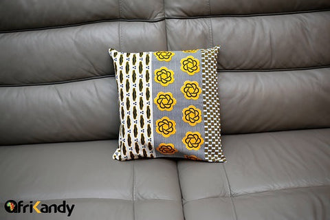 Yellow and Dark Blue Cushion Cover - AfriKandy