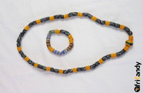 Hand Painted African Recycled glass bead necklace set - AfriKandy