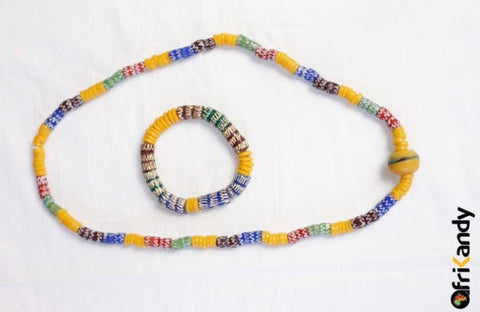 Hand Painted African Recycled glass bead necklace set