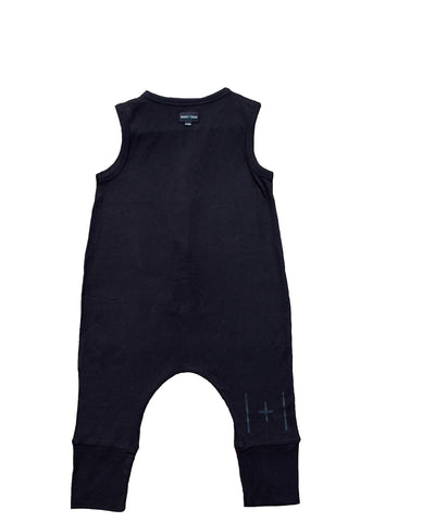 bam |+| boo Sleeveless short leg romper - black