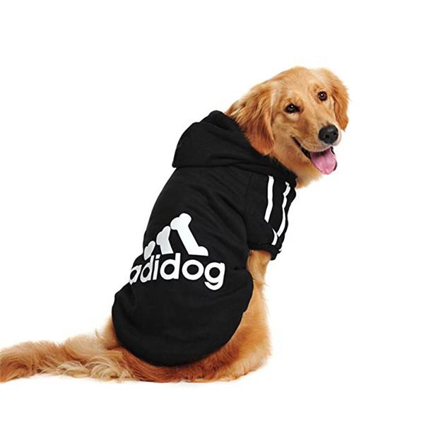 Sports Style Pet Clothing Apparel Pets Coats with Hoodies Soft Cotton Puppy  Clothes Adidog