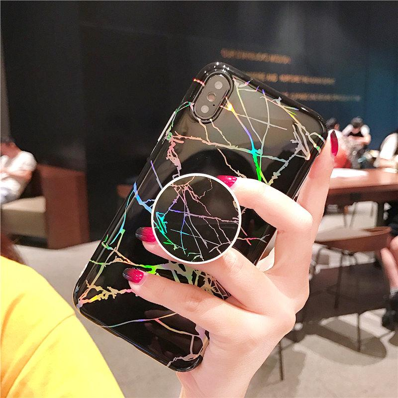 Beily Laser Marble Phone Case for iPhone X 7 Plus 8 Plus 7 8 6s 6 Plus