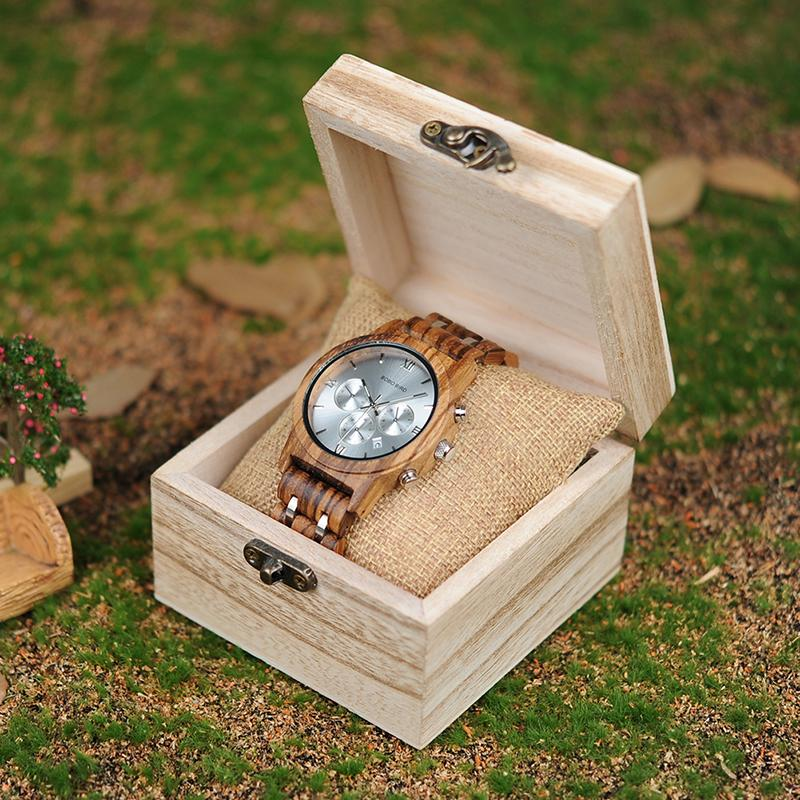Wooden Watch Men relogio masculino Wood Metal Strap Chronograph Date Quartz Watches