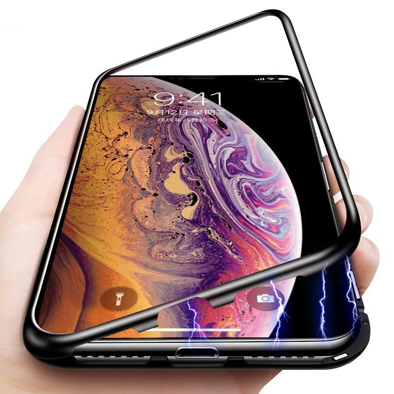 METAL MAGNETIC FRAME FULL COVER Glass Protective Case For iphone XS MAX/8/8Plus/7/7Plus/6/6s/6Plus/6sPlus