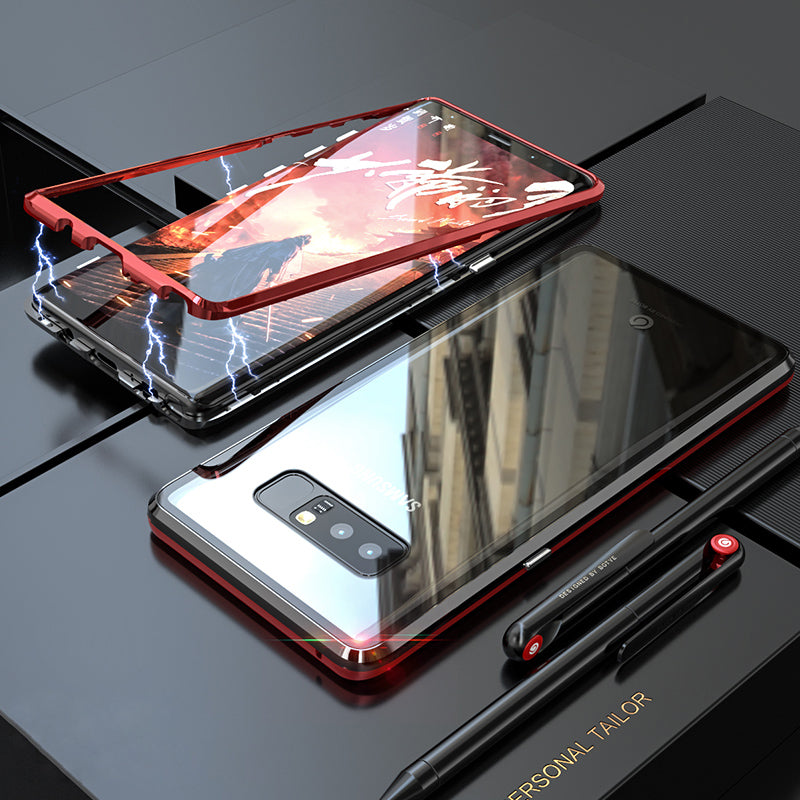 newest 3b12e 28e7c Magnetic Case For Samsung Galaxy Note 8 Magnet Transparent Clear Glass Back  Cover For Galaxy Note8 Case