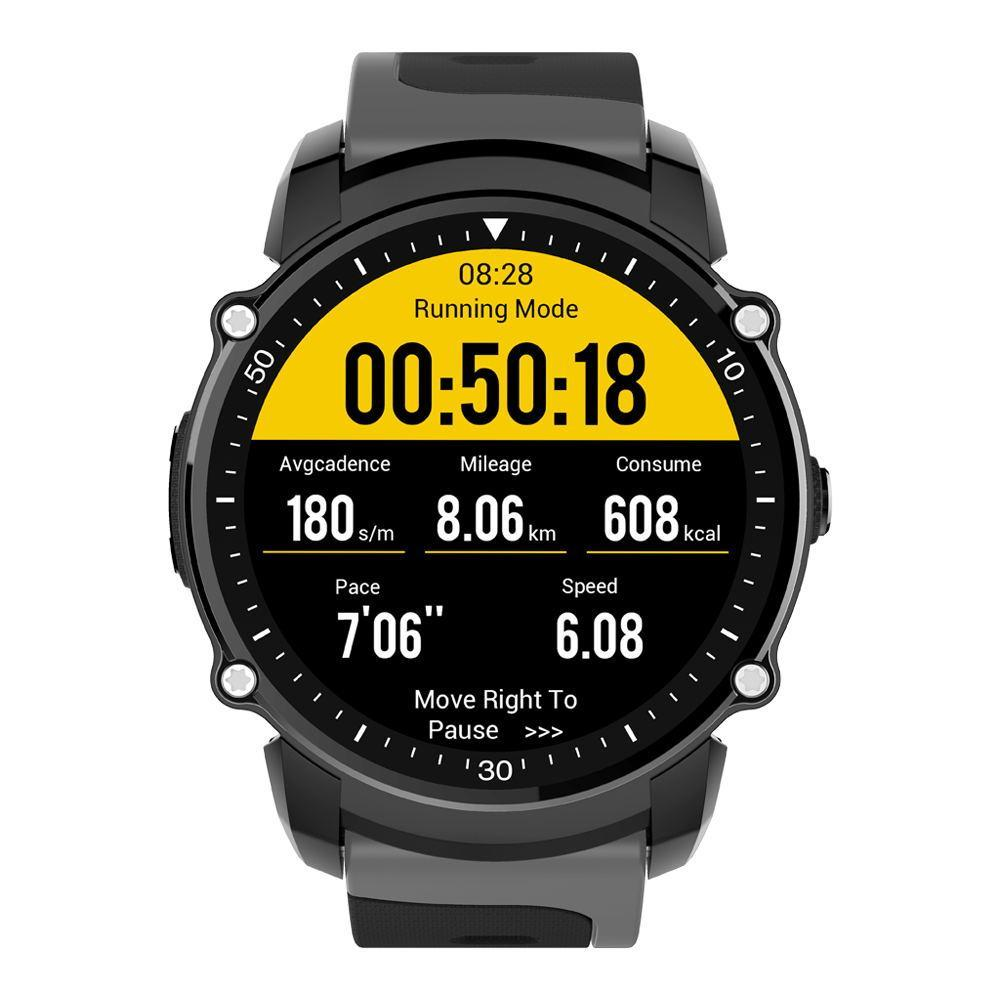 Kingwear FS08 Transflective TFT Screen 1.26inch GPS Heart Rate Monitor Pedometer Compass Smart Watch-Smart Watch Phone-Black-hykis.com