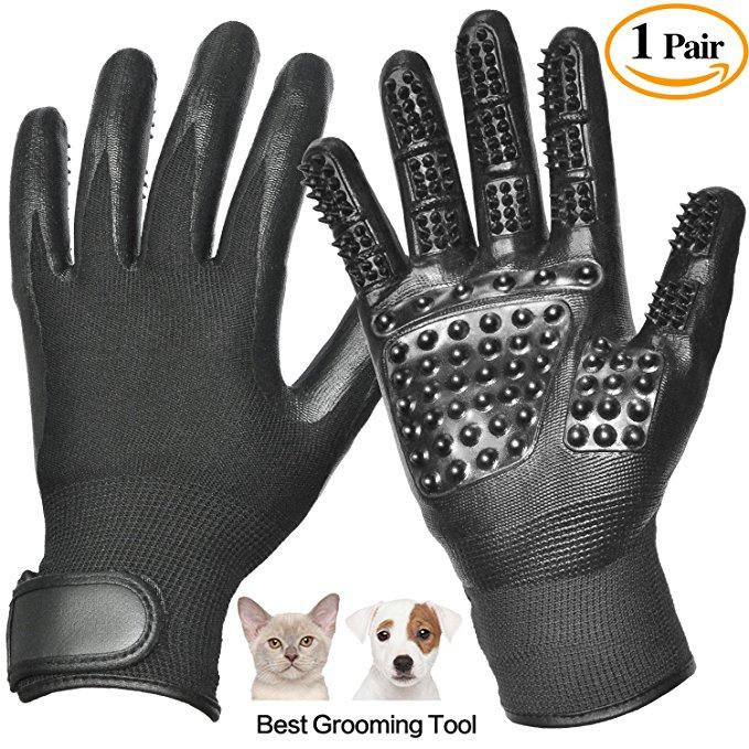 Pet Grooming Glove, Pet Hair Glove Remover Mitt Gentle De-shedding Brush Glove, Five Finger Comb Glove Pet Massage Mitt, Bathing Shedding Massage Tool for Long or Short Hair Dogs, Cats, Horses
