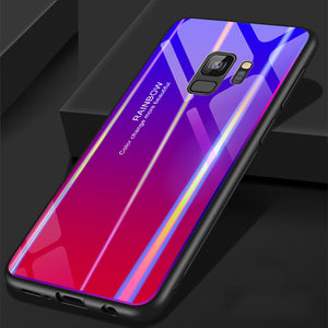sports shoes b2e0f 02d80 for Samsung S9 Case S9 Plus Discolor 9H Tempered Glass Aurora Gradient  Color Shockproof Case - Purple Red - Samsung s9