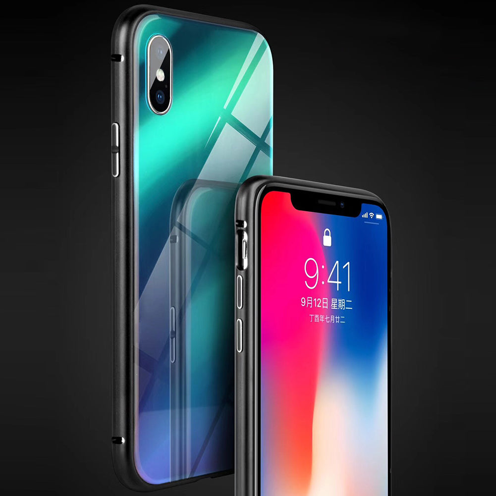 538d81f685b Full Magneto Magnetic Adsorption Metal Case For iPhone X 8 7 Plus Cover  Aurora Tempered Glass