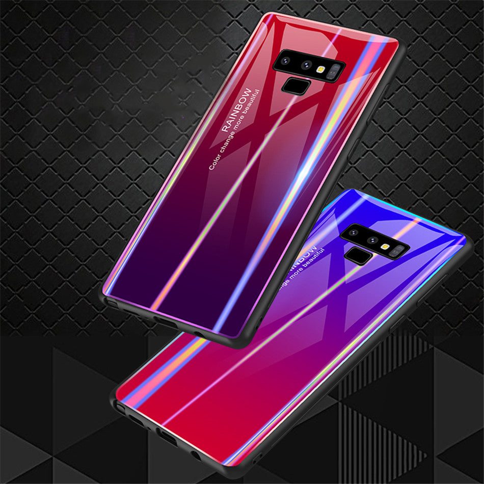 Gradient Color Case Tempered Glass Bumper Rainbow Bling Silicone Case Full Back Cover for Galaxy Note9